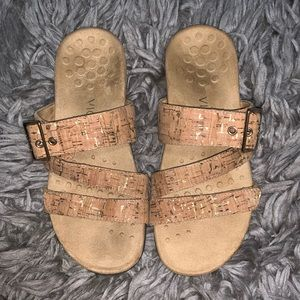 Beige Cork Slip On Vionic Sandals